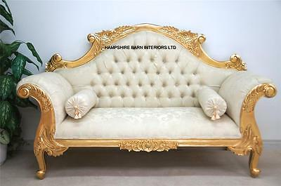 Double Ended Gold & Cream French  Louis Ornate Chaise Longue Sofa Home Wedding
