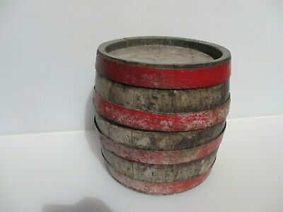 """Vintage French Beer Barrel Ale Wood With Iron Straps Antique Old  10""""H"""