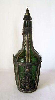 Rare 1950s Greek Silver Tone Filigree mounted Decanter Bottle & Stopper on Chain