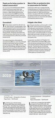 2019 Canada  Wildlife Habitat Conservation FWH35 (D-35)   Mint NH