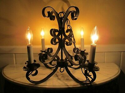 Vintage Hand Wrought Iron 4 Candle  Light Spanish Style Chandelier Gothic Swag