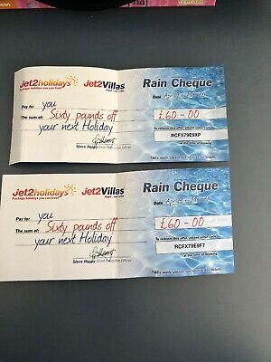 2 X Jet2Holidays £60 Rain Cheque voucher Valid until March 2020