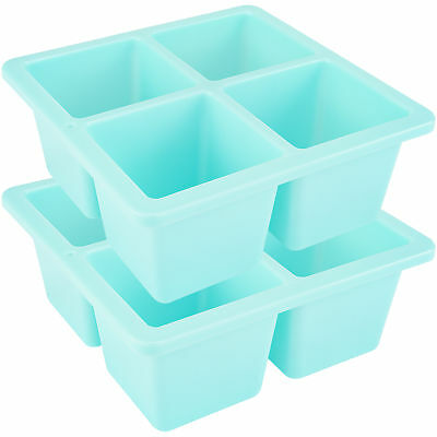 Jumbo Whisky and Scotch Ice Cube Trays 2-Pack Blue Plastic Cube Trays Molds
