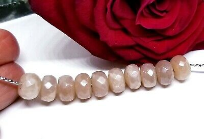 10 PEACH AUSTRALIAN MOONSTONE FACETED RONDELLE BEADS 27cts 8mm  AAA SUPERB FLASH