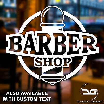 Barber Shop Pole Personalised Salon Business Window Wall Door Vinyl Sticker Sign