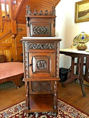 Antique Gothic Oak Carved Smoking/Sacristy/Wash Stand Cabinet - C1880 - Nice!