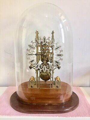 Antique English Made Skeleton Clock Under Glass Dome.