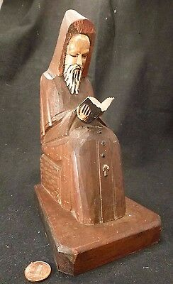 """Vintage Woodcarving Wood Carved GOTHIC Statue Monk Druid Rosary bible 8"""" Tall!"""