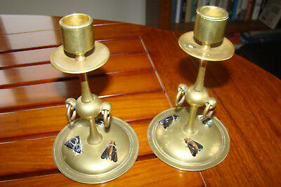 Brass Candlesticks With Agate House Flies -- Scottish Arts And Crafts --Amazing!