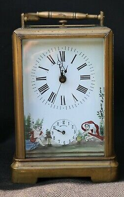 Antique Carriage Clock / Repeater / Alarm / Painted Dial / Sweep Second Hand