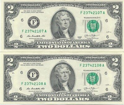$2.00 USA Banknotes consecutive numbers F 23742107-8 A ( Lot 4 ).