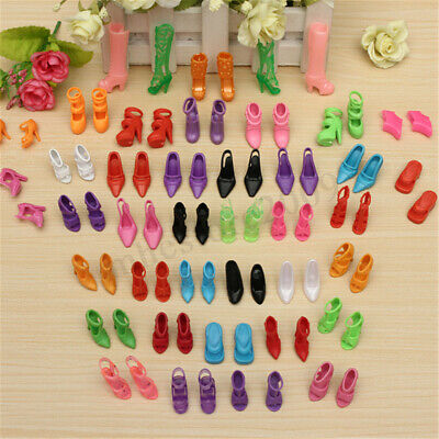 80pcs Mixed Different High Heel Shoes Boots For Doll Clothes Toy