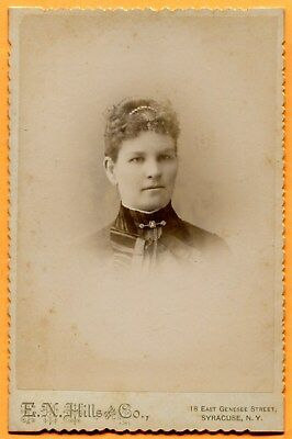 Syracuse, NY, Portrait of a Young Woman, by Hills, circa 1880s  Backstamp