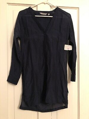 3515cfacea Athleta Kaftan Swim Cover Up XXS Button Down Women's Blue Navy NEW Top Tunic