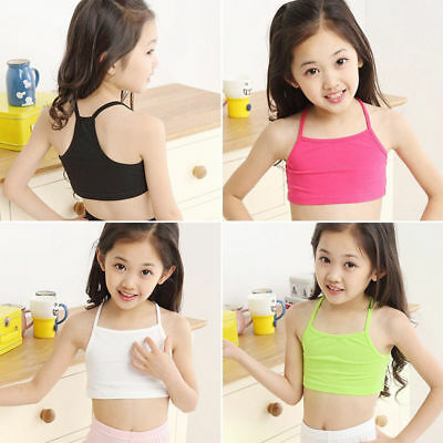 Kids Girl Cotton Camisole Vest Strap Crop Tank Tops Loose Sleeveless T-Shirt New