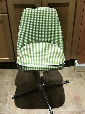 Vintage Retro Kitchen chair dining swirl Chrome And  Gingham Green vinyl Chair