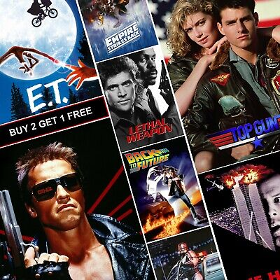Best Classic 80's Movie Posters A4 A3 HD Prints Vintage Die Hard Terminator E.T