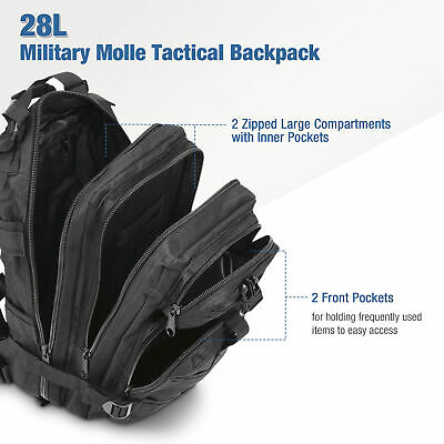 Military Molle Camping Backpack Tactical Camping Hiking Travel Bag Black 30L