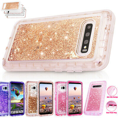 Samsung Galaxy S10+ S9 S8+ Glitter Liquid Shockproof Quicksand Armor Case Cover