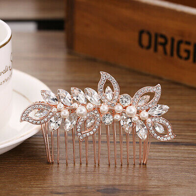 Small Wedding women hair bride Accessories Rose Gold Comb piece Clip Pin Bridal