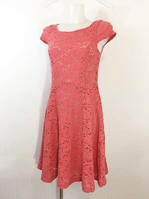 Maeve Anthropologie Dayflower Dress Small Lace Fit & Flare Knee Length Coral