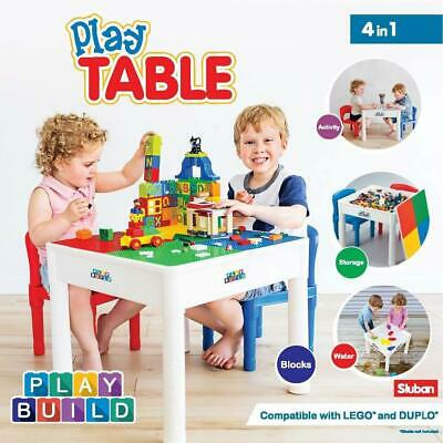 PlayBuild Kids 4 in 1 Play & Build Table Set for Indoor Activity, Outdoor Water