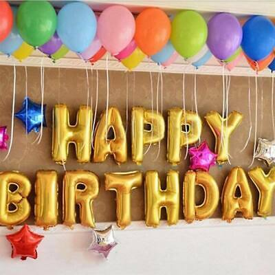 Self Inflating 16 INCH Foil Letters BALLOONS Happy Birthday Ballons with Strings