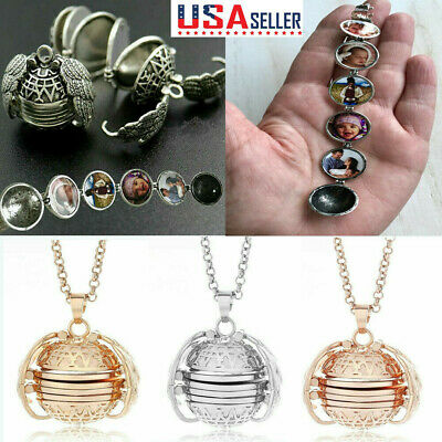 US Expanding Photo Locket Necklace Silver Ball Angel Wing Pendant Memorial Gifts