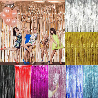 2M-3M Fringe Tinsel Shimmer Foil Curtain Door Wedding Birthday Party Decor