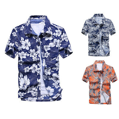 c3197e889 Summer Men's Floral Casual Shirts Blouse Short Sleeve Beach Tops T-Shirt  L~3XL