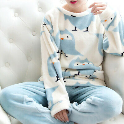 Winter Women Girl Pajamas Set Flannel Coral Velvet Sleepwear Warm Nightgown