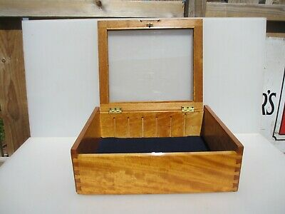 """Wooden Display Case Stand Glass(perspex) Front Traders Collectables Stand 14x18"""""""