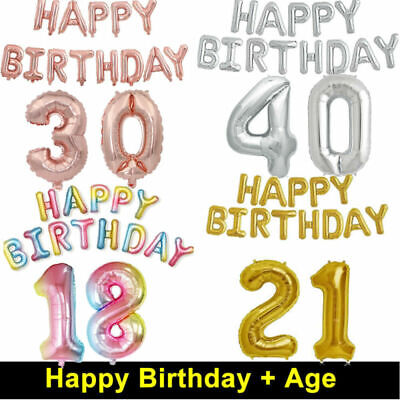 Foil Happy Birthday Balloons 16/18/21st/30/40/50th Party Decorations Rose Gold