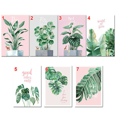 Modern Nordic Green Plant Leaf Canvas Art Poster Print Wall Picture Home CIC