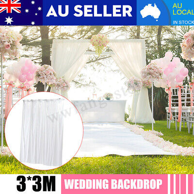 White Ice Silk Wedding Party Stage Backdrop Swag Drape Sheer Background 3*3M