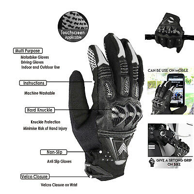 Hard Knuckle Leather All Weather Motorbike Motorcycle Gloves Carbon Fiber Gloves