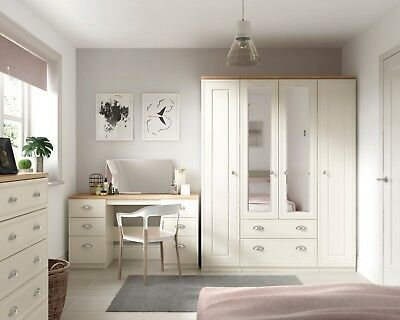 Venice Ivory Wardrobe Chest Of Drawers Set Ready Assembled Bedroom Furniture UK