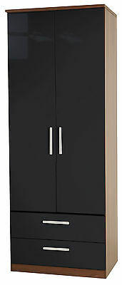 High Gloss Black Tall Wardrobe Drawers Fully Ready Assembled Bedroom Furniture