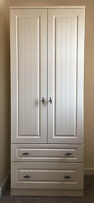 Tall Ivory Robe with Rustic Metal Handles Supplied Fully Assembled with 2 drawer