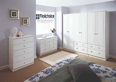 Chester White Wardrobe Chest Of Drawers Set Ready Assembled Bedroom Furniture UK