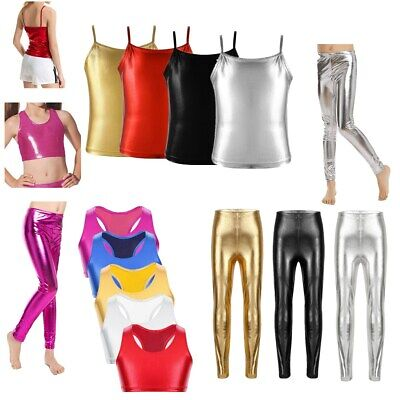 Kids Girls Shiny Stretch Dance Leggings Pant Metallic Crop Top Bra Top Costumes