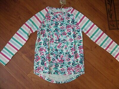 Bnwt Girls Joules Mishmash Neon Pink Stripe Baseball Style Top Age 9-10 Yrs.