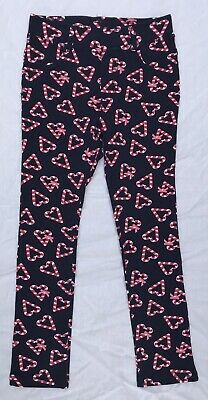 H&M - Candy Cane Hearts Print Treggings - Size 6 - NEW