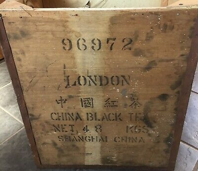 Vintage Wooden Tea Chest With Original Lining ~ No Lid