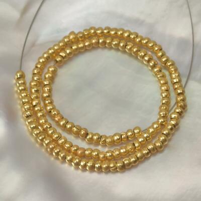 "18K Gold Vermeil over Sterling Silver 8"" Strand Thai Hill-tribe Beads 4.40 g"