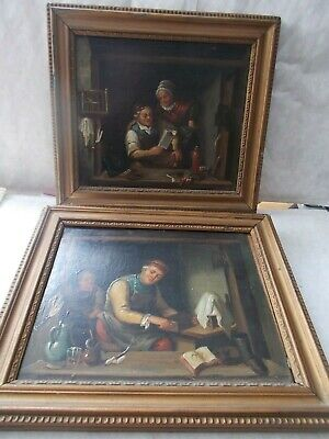 Attractive Pair Of Antique Flemish Oil Paintings Figures In Interiors.wood Panel