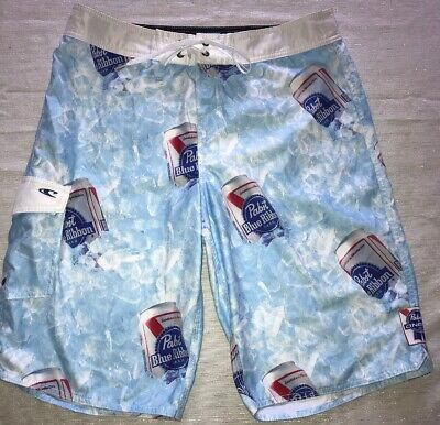 ec009860d6 ONeill Pabst Blue Ribbon Surf Board Shorts Beer Cans Logo Size 32 Excellent  Cond