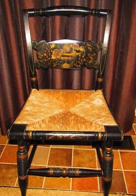Beautiful Hitchcock Signed Side Chair With Rush Seat Stenciling- Turtle Back