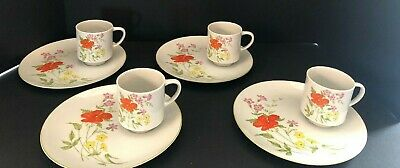 4 Vintage Luncheon Snack Plates Made in Japan w Matching Cups w Flowers