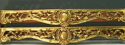 Rare Pair Of French Louis Antique Carved Gilt Wood Ornate Pelmets Bed Canopies